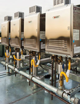 Tankless water heaters lower energy consumption at a Calif. university.